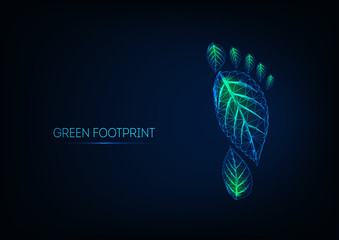 Futuristic glowing low poly human footprint made of green leaves isolated on dark blue background