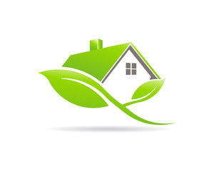 Eco Friendly Green house Logo. House sustained by plant leaves. Vector Design