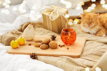 Fototapete - hygge and christmas concept - oatmeal cookies, candle, gift and red tabby cat lying in bed