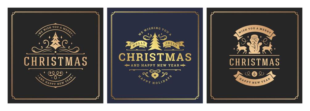 Christmas square banners vintage typographic design, ornate decorations symbols vector illustration