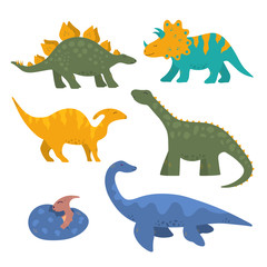 Cute funny colorful dinosaur collection for kids with baby pterodactyl in the egg. Vector isolated dino stickers for prints.
