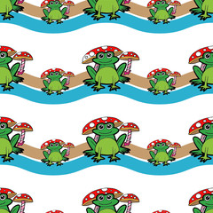 cartoon frog under  mushroom seamless pattern  vector