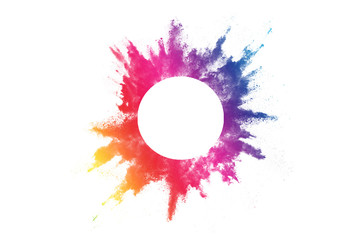 abstract powder splatted background. Colorful powder explosion on white background. Colored cloud. Colorful dust explode. Paint Holi. Wall mural