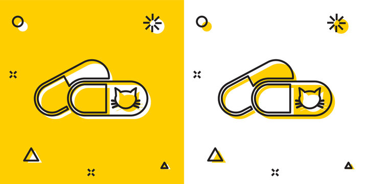 Black Cat and pills icon isolated on yellow and white background. Prescription medicine for animal. Random dynamic shapes. Vector Illustration
