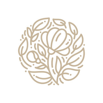 Abstract emblem logo flower in a circle in linear style. Monoline vector plant for design of natural products, flower shop, cosmetics, ecology concepts, health, spa, yoga center
