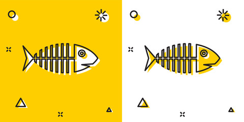 Black Fish skeleton icon isolated on yellow and white background. Fish bone sign. Random dynamic shapes. Vector Illustration