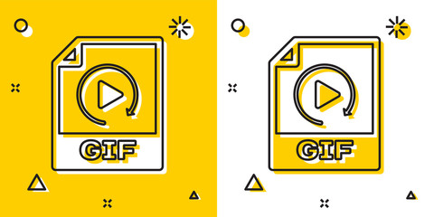 Black GIF file document. Download gif button icon isolated on yellow and white background. GIF file symbol. Random dynamic shapes. Vector Illustration