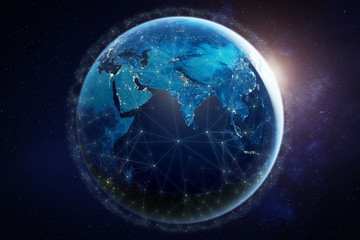 Internet network for fast data exchange around planet Earth from space, global telecommunication satellite grid over the world for IoT, mobile web, financial technology, 3d render, elements from NASA