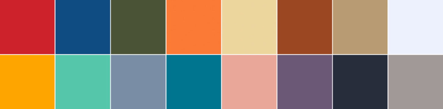 16 color swatches from Color Trend Report for Spring - Summer 2020 in banner format