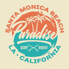 Santa Monica Beach - Tee Design For Printing