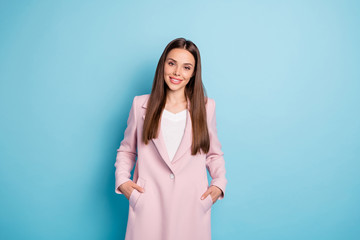 Photo of amazing lady in good mood wear pastel color demi-season coat isolated on blue background