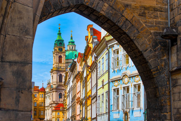 Entry into the colorful district of Mala Strana in Prague