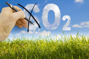 CO2 reduction concept image against a green wild grass on sky background
