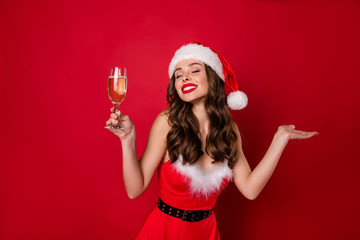 Photo of pretty lady telling newyear toast at family gathering wear fluffy snow dress isolated red background