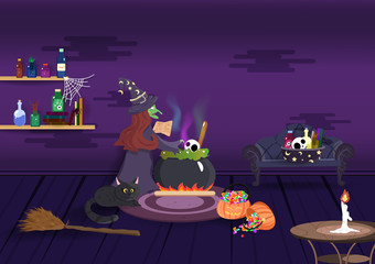Halloween night, witch magic cooking, interior room, cartoon character, greeting card background vector