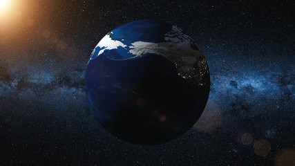 Wall Mural - Earth rotates around its axis. World Globe surrounded by infinite space and Milky Way stars. View from Space. Change of night and day. 4k 3D Render animation. Elements of this image furnished by NASA