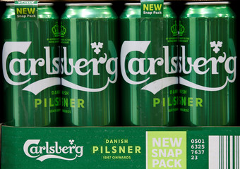 Cans of Calsberg beer are seen at the development center of the group at the K2 Kronenbourg beer brewery in Obernai