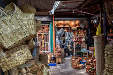 Local Market, Baskets, Pottery, Household Goods, Antigua Guatemala, Guatemala