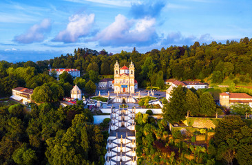 Aerial view of Bom Jesus do Monte Cathedral in Braga, Portugal during the evening