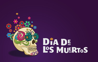 Dia De Los Muertos banner skull decorated with colorful flowers, mexican event, Fiesta, party poster, holiday greeting card