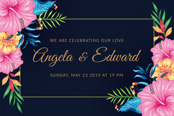 Rectangle vintage floral wedding invitation