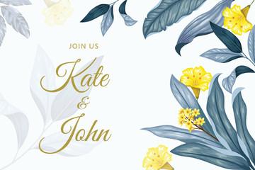 Rectangle vintage floral wedding invitation