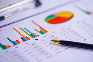 Charts Graphs spreadsheet paper. Financial development, Banking Account, Statistics, Investment Analytic research data economy, Stock exchange trading, Business office company meeting concept..