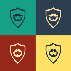 Color Mustache and beard on shield icon isolated on color background. Barbershop symbol. Facial hair style. Vintage style drawing. Vector Illustration