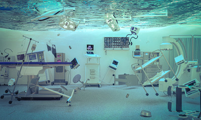 abstract 3d render image of an operating room of a flooded hospital.