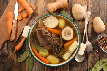 Wall Mural - beef stew with broth and vegetable, pot au feu