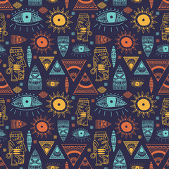 Trendy african maya seamless pattern with doodle hand drawn ancient objects. Vector illustration ready for fashion textile print.