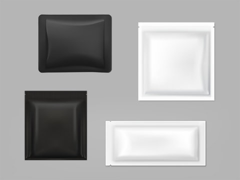 Blank white, black plastic, foil or polythene sachets for wet wipes, sauce or seasonings, shampoo samples isolated, 3d realistic vector illustration set. Food, cosmetics product packaging template