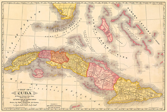Cuba Antique Map at about the time of the Spanish-American War, 1897