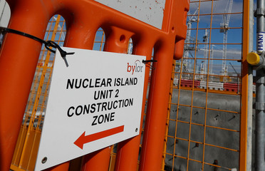 A sign that directs people to the nuclear reactor area under construction, is seen at Hinkley Point C nuclear power station site, near Bridgwater