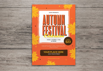 Autumn Festival Flyer Layout with Graphic Leaves
