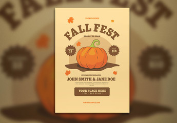 Fall Festival Flyer Layout with Graphic Pumpkin