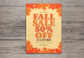 Orange Fall Sale Flyer with Graphic Leaf Layout