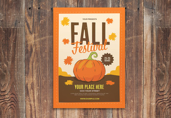 Orange Fall Festival Flyer Layout With Graphic Pumpkin