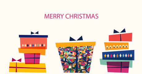 Fotomurales - Vector illustration with gift box. Holiday greeting card for New Year and Christmas holidays