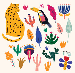 Fototapete - Tropical vector colorful illustration with leopard, flowers, toucan.