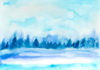 Printed kitchen splashbacks Light blue Winter landscape. Abstract hand painted on paper watercolor texture. Decorative chaotic texture for design. Handmade overlay backdrop. Bright artistic painting.