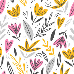 Hand drawn floral seamless pattern for print, textile, fabric. Modern flowers illustration background.