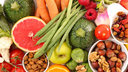 selection of vegetables and nuts