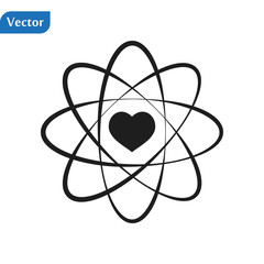 Atom Icon. Science sign. Atom logo. Atomic symbol. Nuclear icon. Electrons and protons eps10