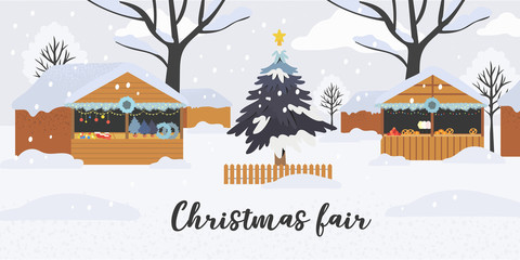 Christmas or new year shopping theme banner, flyer, poster or landing page with christmas market of fair stalls decorated with fir tree branches, wreath, garland and twinkling lights on open air.