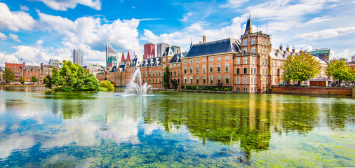 Fotomurales - Panoramic landscape view in the city centre of The Hague (Den Haag), The Netherlands.