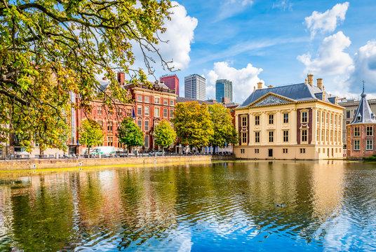 The Hague, The Netherlands. Hofvijver (Court Pond) with buildings near the Binnenhof.