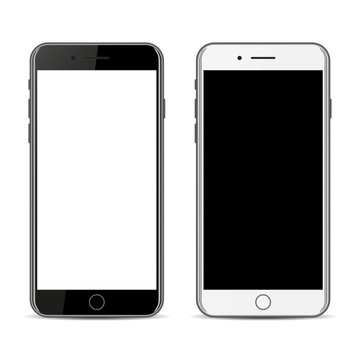 Black and white iphone isolated on a white background