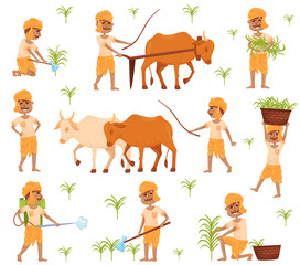 Set of images of a farmer in traditional Indian clothing. Vector illustration.