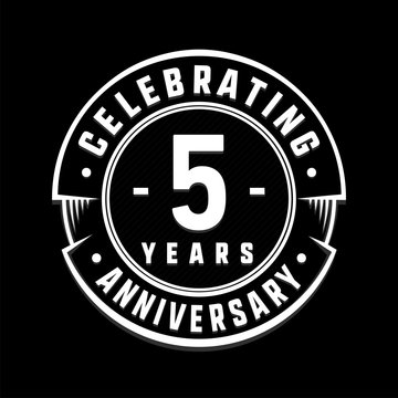 Celebrating 5th years anniversary logo design. Five years logotype. Vector and illustration.